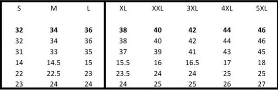 SA19 Size Chart